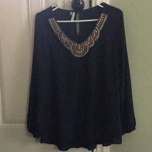 Navy blouse w/design